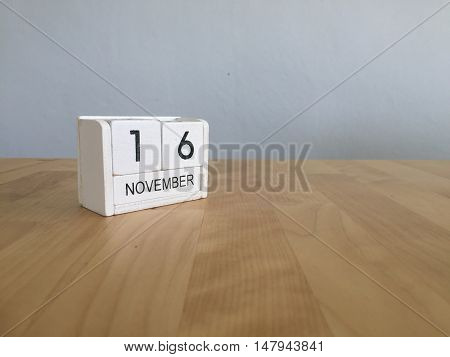 November 16Th. November 16 White Wooden Calendar On Vintage Wood Abstract Background.autumn Day.copy