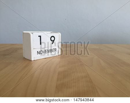 November 19Th. November 19 White Wooden Calendar On Vintage Wood Abstract Background.autumn Day.copy