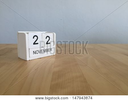 November 22Nd. November 22 White Wooden Calendar On Vintage Wood Abstract Background.autumn Day.copy