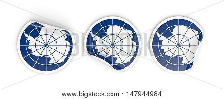 Flag Of Antarctica, Round Labels