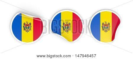 Flag Of Moldova, Round Labels