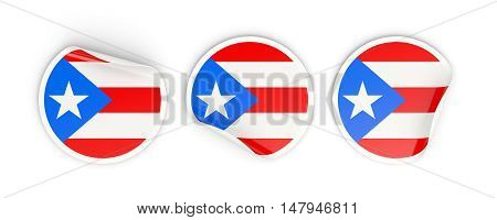 Flag Of Puerto Rico, Round Labels