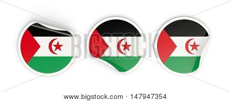 Flag Of Western Sahara, Round Labels