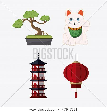 tower building cat bonsai and lamp icon. Japan culture landmark and asia theme. Colorful design. Vector illustration