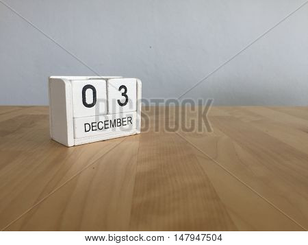 December 3Rd.december 3 White Wooden Calendar On Vintage Wood Abstract Background. New Year At Work