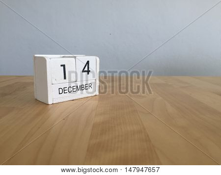 December 14Th.december 14 White Wooden Calendar On Vintage Wood Abstract Background. New Year At Wor