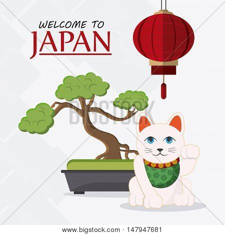 Lamp bonsai and cat icon. Japan culture landmark and asia theme. Colorful design. Vector illustration