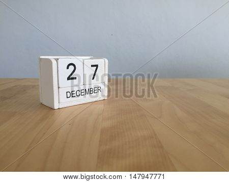 December 27Th.december 27 White Wooden Calendar On Vintage Wood Abstract Background. New Year At Wor