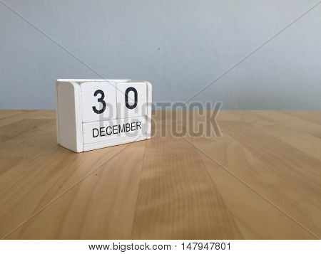 December 30Th.december 30 White Wooden Calendar On Vintage Wood Abstract Background. New Year At Wor