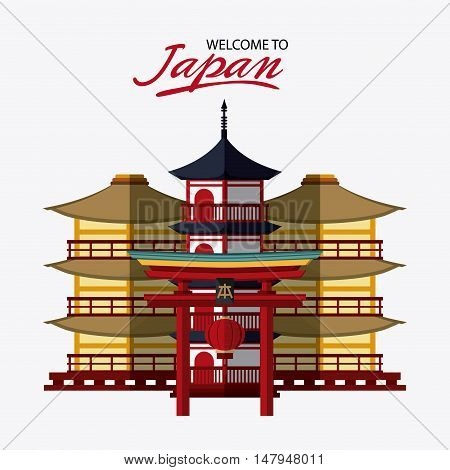 tower building and arch icon. Japan culture landmark and asia theme. Colorful design. Vector illustration
