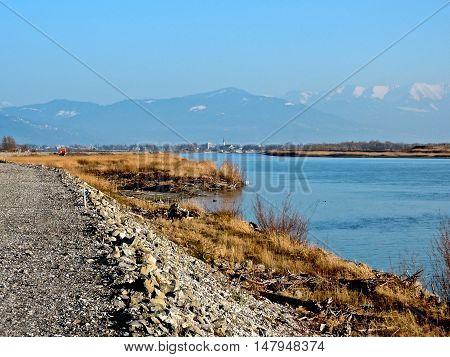 Rhine River Dam, Austria, March 8, 2914: ON the Rhine river dam in Austria near Lake Constance.