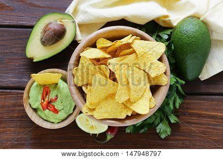 dip of avocado guacamole and corn chips, Mexican food