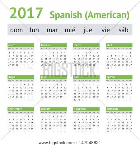 2017 Spanish American Calendar. Week starts on Sunday