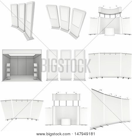 Trade show booth set. Roll-Up and Pop-Up. 3d render isolated on white background. 3d render isolated on white background. Floor Stands Collection. Ad template for your expo design.