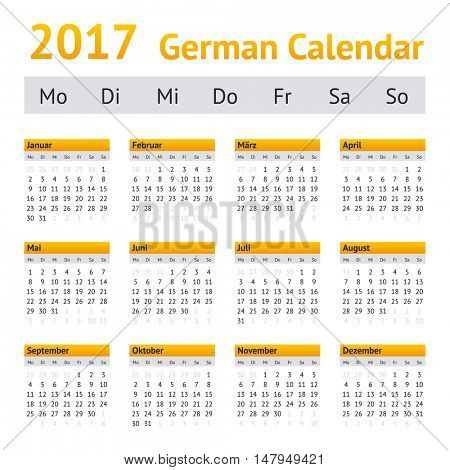 2017 German Calendar. Week starting on Monday