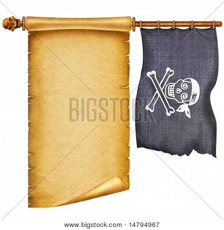Old Apper Scroll With Pirate Skulls And Flag