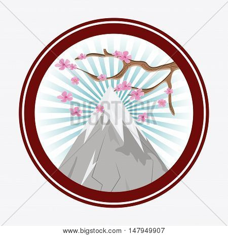Mountain and tree icon. Japan culture landmark and asia theme. Colorful and striped button design. Vector illustration