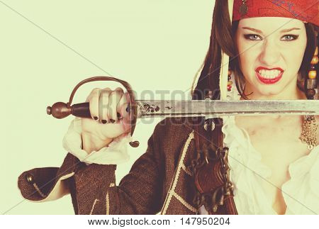 Female wearing pirate costume