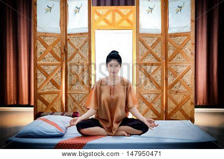 Thai Massage Spa., Beautiful Asian Woman Waiting Masseur In The Spa Salon., Beauty Treatment Concept