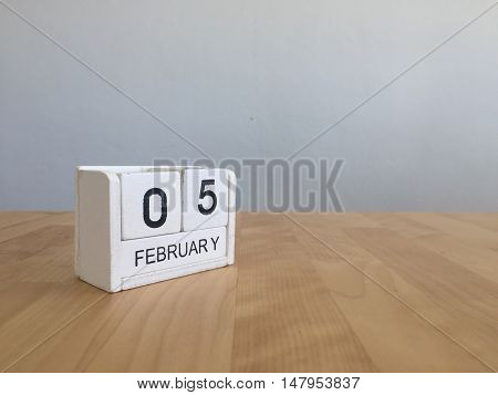 February 5Th.february 5 White Wooden Calendar On Vintage Wood Abstract Background.winter Time. Copys