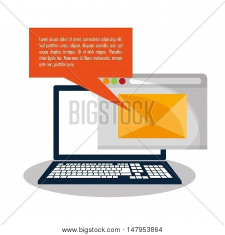 Laptop bubble and envelope icon. Email mail message communication and technology theme. Colorful design. Vector illustration