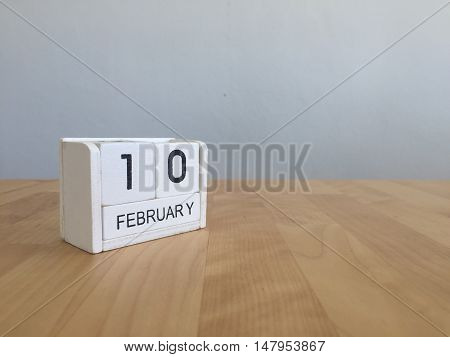 February 10Th.february 10 White Wooden Calendar On Vintage Wood Abstract Background.winter Time. Cop