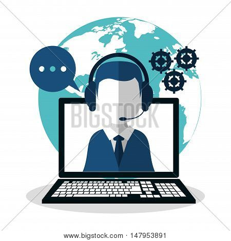 Opeartor man with headphone and laptop icon. Call center and technical service theme. Colorful design. Vector illustration