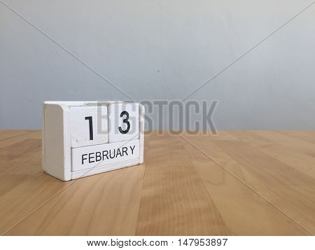 February 13Th.february 13 White Wooden Calendar On Vintage Wood Abstract Background.winter Time. Cop