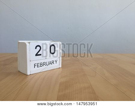 February 20Th.february 20 White Wooden Calendar On Vintage Wood Abstract Background.winter Time. Cop
