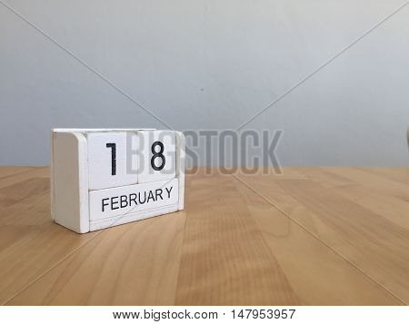 February 18Th.february 18 White Wooden Calendar On Vintage Wood Abstract Background.winter Time. Cop