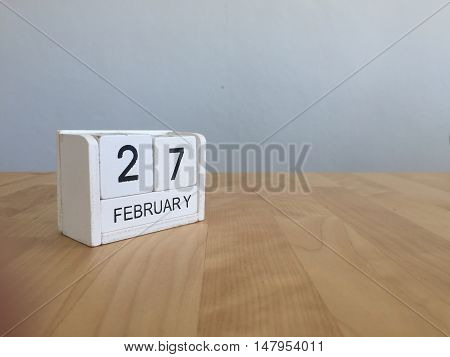 February 27Th.february 27 White Wooden Calendar On Vintage Wood Abstract Background.winter Time. Cop