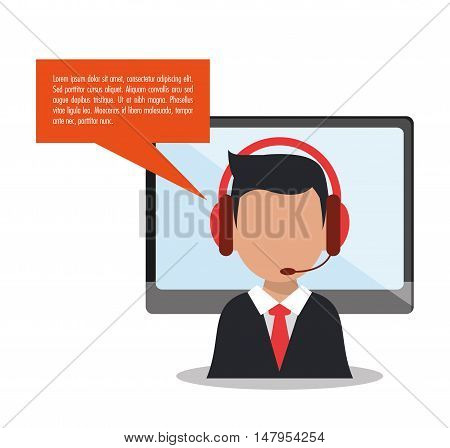 Opeartor man with headphone and computer icon. Call center and technical service theme. Colorful design. Vector illustration