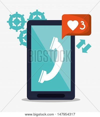 Smartphone phone gears and bubble icon. Email mail message communication and technology theme. Colorful design. Vector illustration