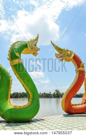 close up King of Naga statue in public temple thailand