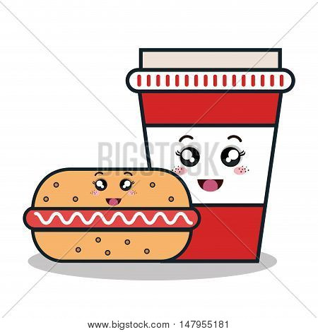 hot dog and cup plastic facial expression isolated icon design, vector illustration  graphic