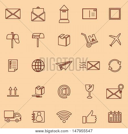 Post line color icons on orange background, stock vector