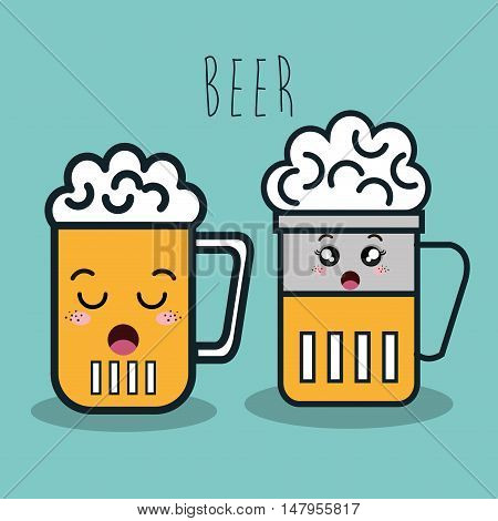glass beer cartoon facial expression isolated icon design, vector illustration  graphic