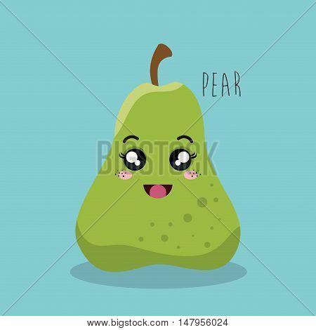 cartoon pear fruit facial expression design isolated vector illustration esp 10