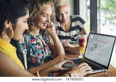 Women Friends Shopaholics Online Shopping Concept