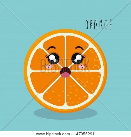 cartoon orange sliced fruit facial expression design isolated vector illustration esp 10