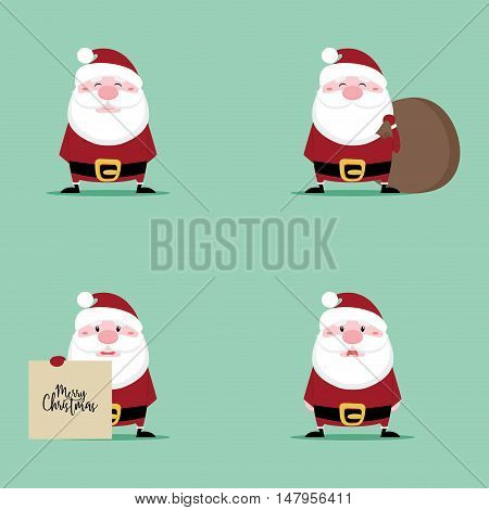 Abstract cute cartoon santa claus on a green background