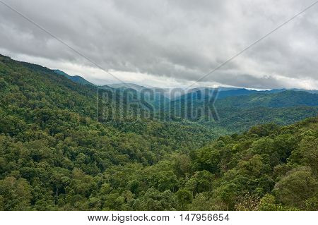 Mountain range in cloudy day. Chong Yen viewpoint, at Mea-Wong National Park,Thailand. Tropical rain-forest in asia. Rain is coming.
