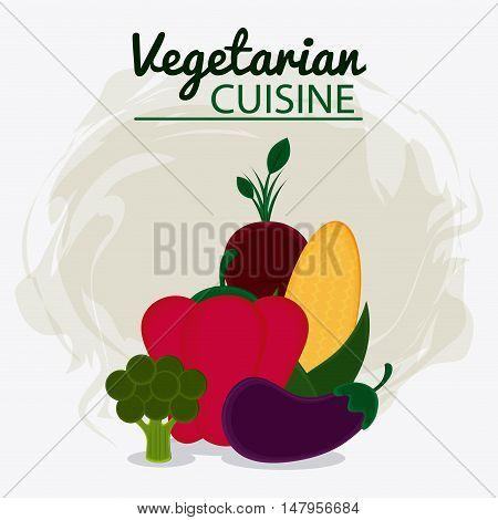 pepper onion eggplant cob and broccoli icon. Vegetarian cuisine organic and healthy food theme. Colorful design. Vector illustration
