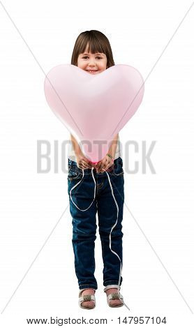 portrait of a girl with a balloon isolated on a white background