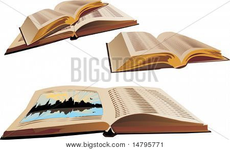 illustration with four open books isolated on white background