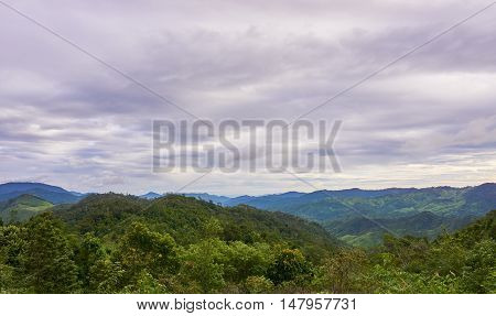 Mountain range in cloudy day. Khun Nam Yen viewpoint, at Mea-Wong National Park,Thailand. Tropical rain-forest in asia