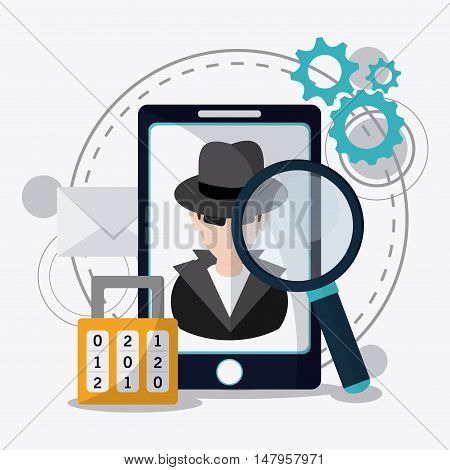 Hacker thief smartphone lupe and padlock icon. Data protection cyber security system and media theme. Colorful design. Vector illustration
