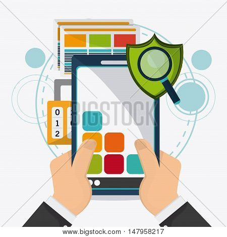 Smartphone shield padlock lupe and document icon. Data protection cyber security system and media theme. Colorful design. Vector illustration