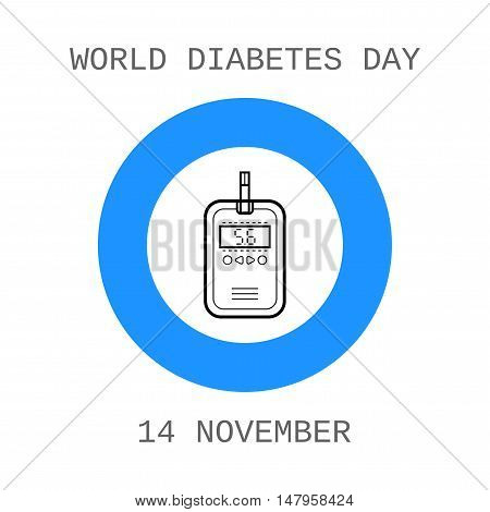 World diabetes day. Device for measuring the blood sugar level. Flat icon. Vector illustration