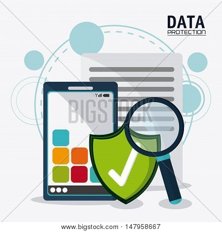 Smartphone shield lupe and document icon. Data protection cyber security system and media theme. Colorful design. Vector illustration